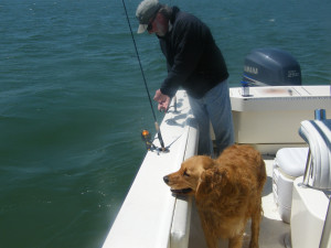 Capt. Jerry Teel and First Mate Brinklie get ready to cast
