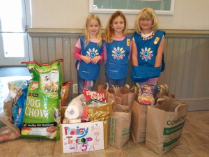 Three members of Girl Scout Troop 4175 collect donations at Surf or Sound Realty's Avon office.