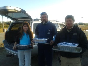 Cheryl, our Vacation Specialist, delivering food to the ferry workers.
