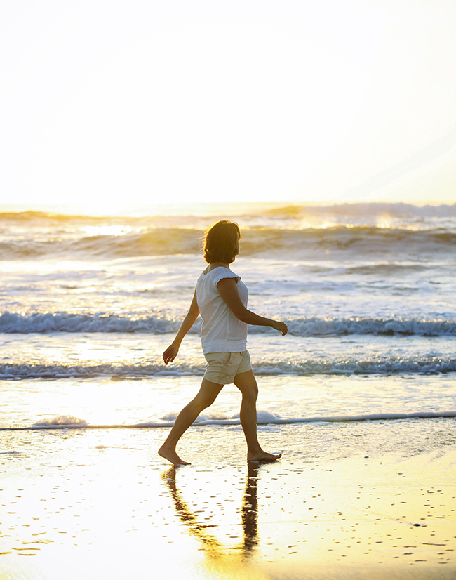 Miles of pristine seashore make the perfect place for a morning stroll.