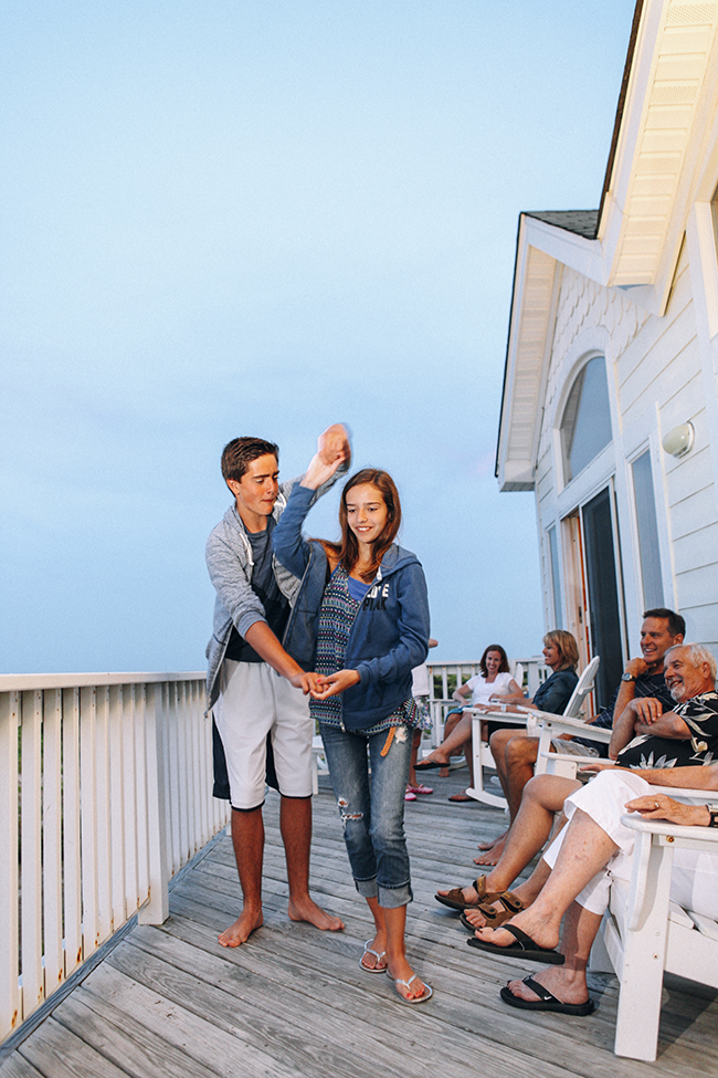 Just a little after dinner square dancing on the oceanfront deck.